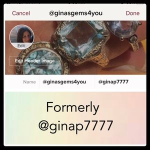 New closet name is @ginasgems4you from @ginap7777